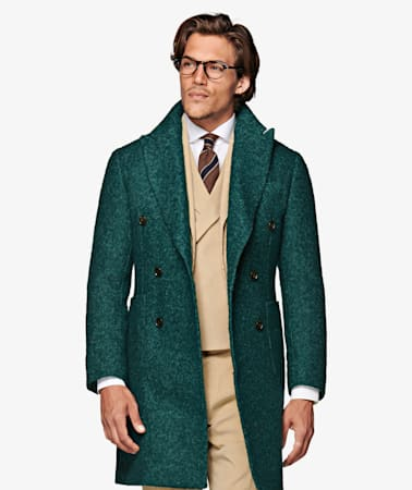 Green Double Breasted Coat
