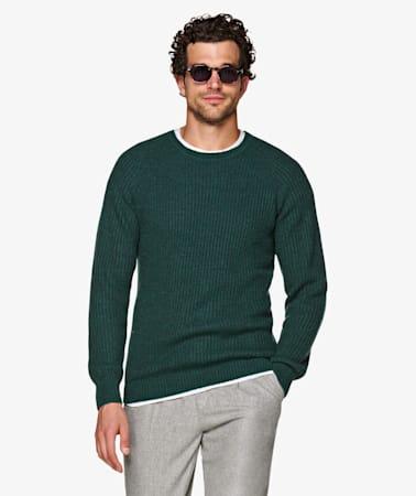 Green Brushed Rib Crewneck
