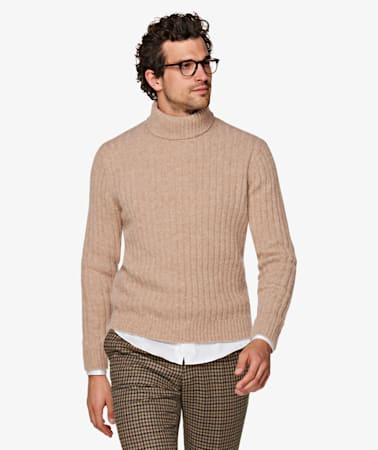 Light Brown Rib Turtleneck