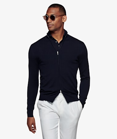 Navy Zip Cardigan