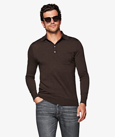 Dark Brown Long Sleeve Polo