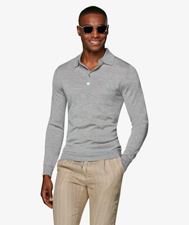 Grey_Long_Sleeve_Polo_Polo_Long_sleeve_SW973