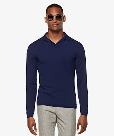Blue Long Sleeve Polo Jort
