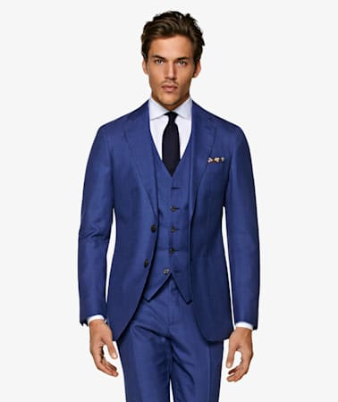 Mid Blue Houndstooth Havana Suit