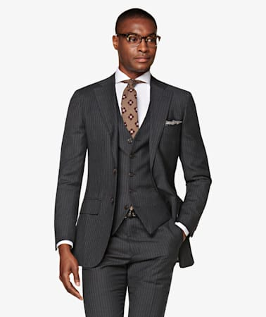 Lazio Dark Grey Stripe Suit