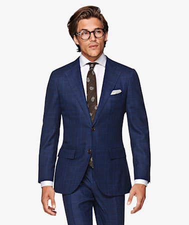 La Spalla Navy Check Suit