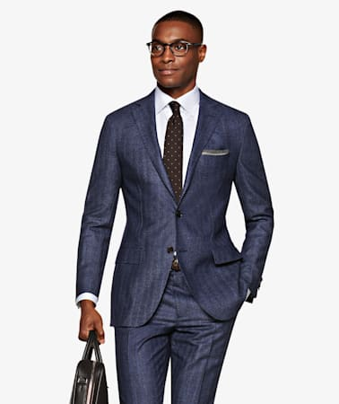 Sienna Navy Herringbone Suit