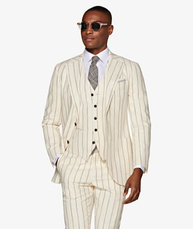 Jort Off White Stripe Suit