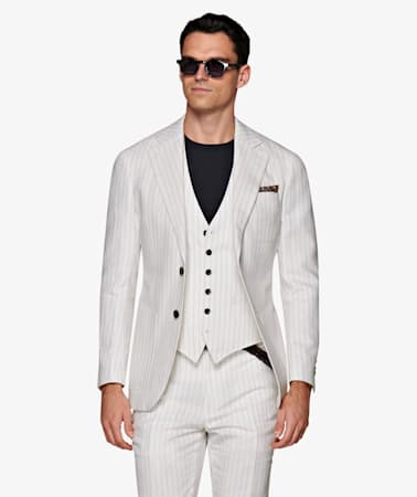 Havana Off White Stripe Suit