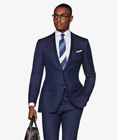 La Spalla Navy Herringbone Suit