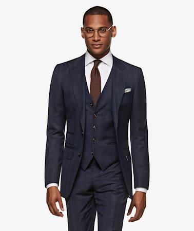 Mid Blue Check Washington Suit