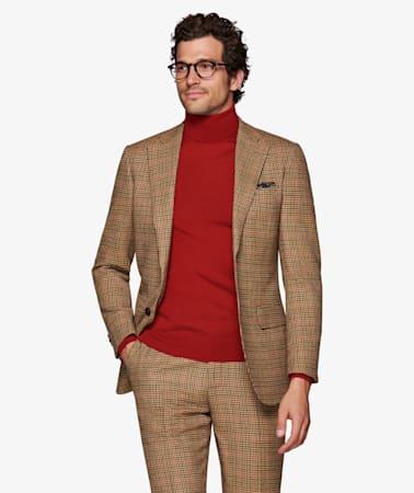 Lazio Brown Houndstooth Suit