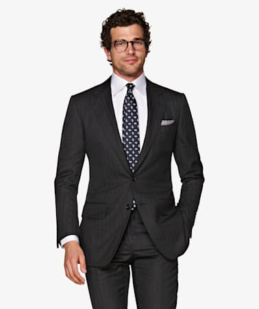 Washington Dark Grey Herringbone Suit