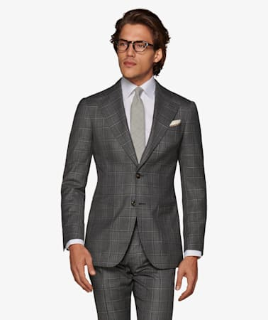 Havana Dark Grey Check Suit