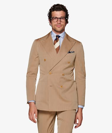 Light Brown Herringbone Havana Suit