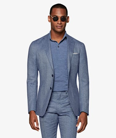 Light Blue Herringbone Havana Suit