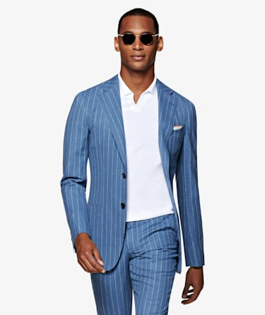 Light Blue Stripe Jort Suit