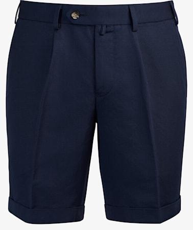 Navy Pleated Bennington Shorts