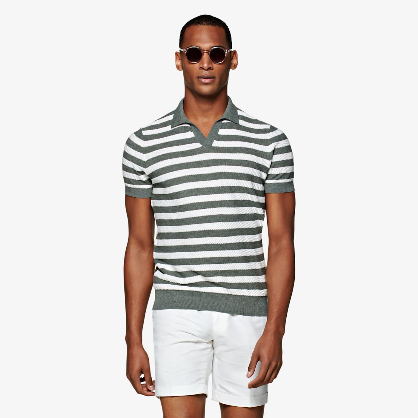 1940s Men's Clothing Dark Green Textured Stripe Buttonless Polo $79.00 AT vintagedancer.com