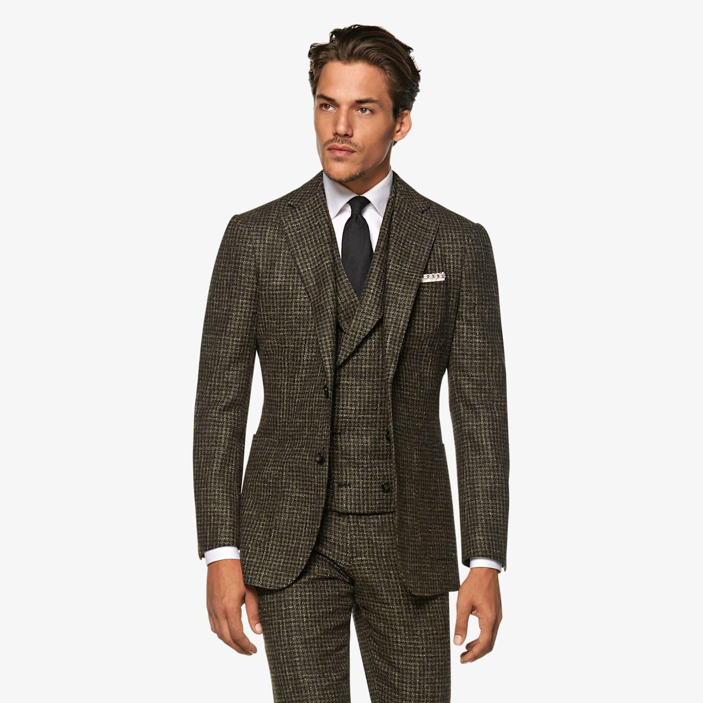 Men's Vintage Style Suits, Classic Suits Mid Green Houndstooth Havana Suit $899.00 AT vintagedancer.com