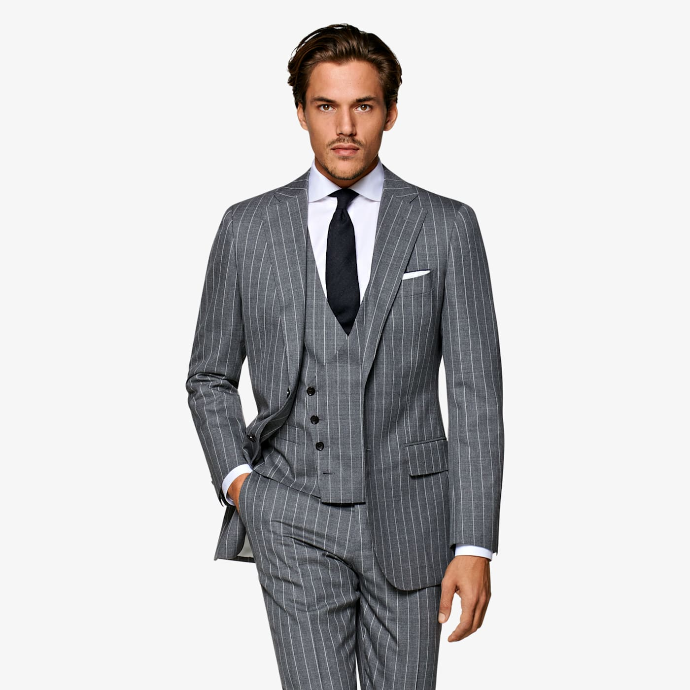 1920s Men's Suits History Light Grey Stripe Lazio Suit $499.00 AT vintagedancer.com