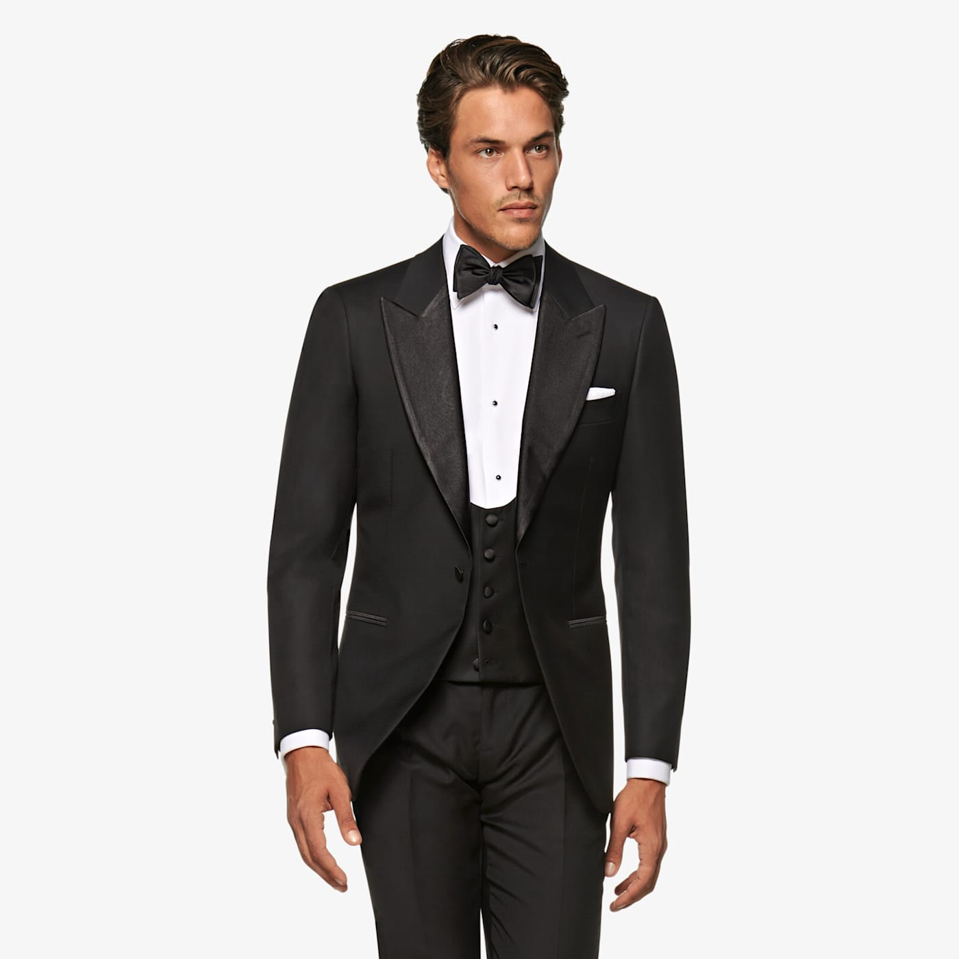 Edwardian Titanic Men's Formal Tuxedo Guide Black Waistcoat $139.00 AT vintagedancer.com