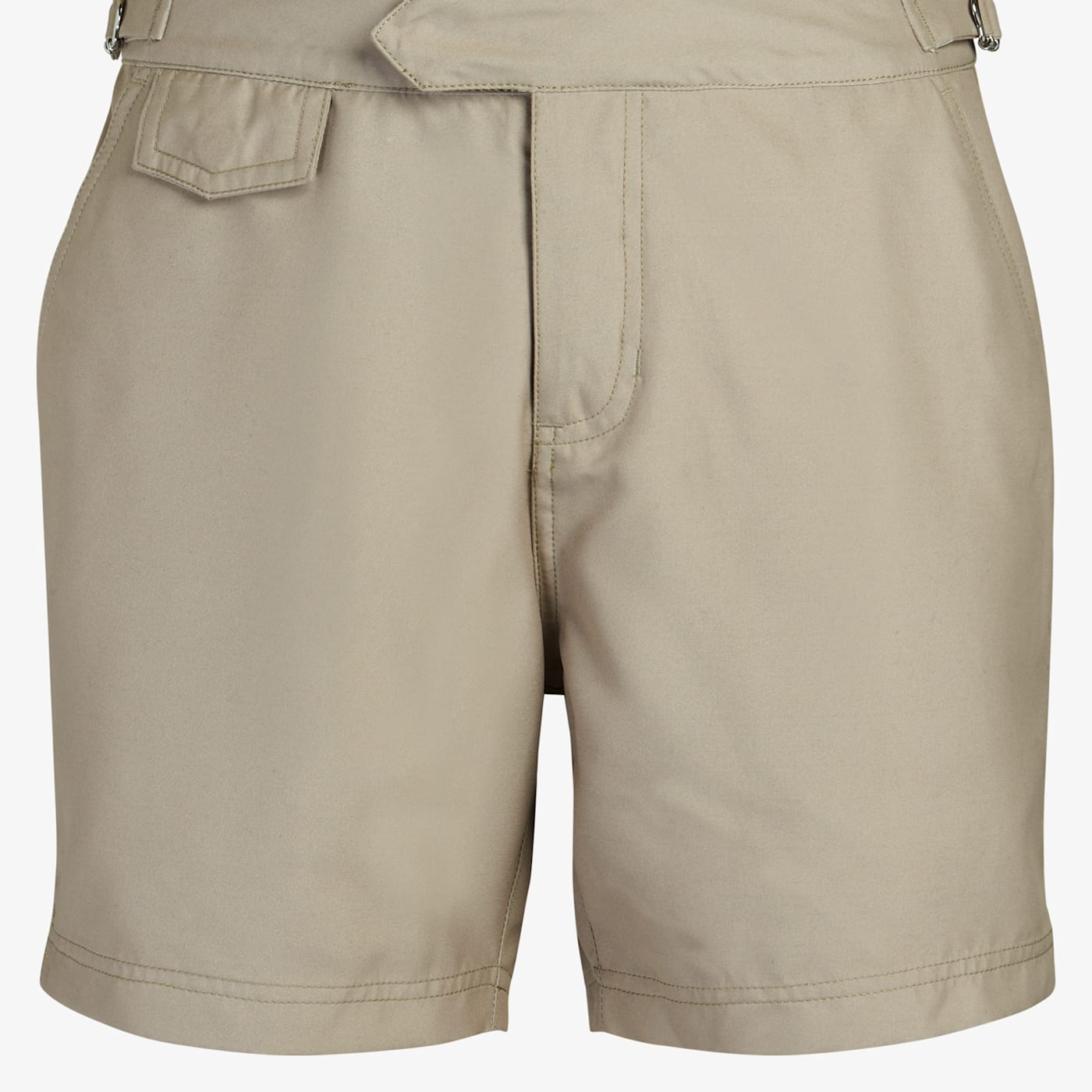Vintage Men's Swimsuits – 1930s to 1970s History Khaki Swim Shorts $79.00 AT vintagedancer.com
