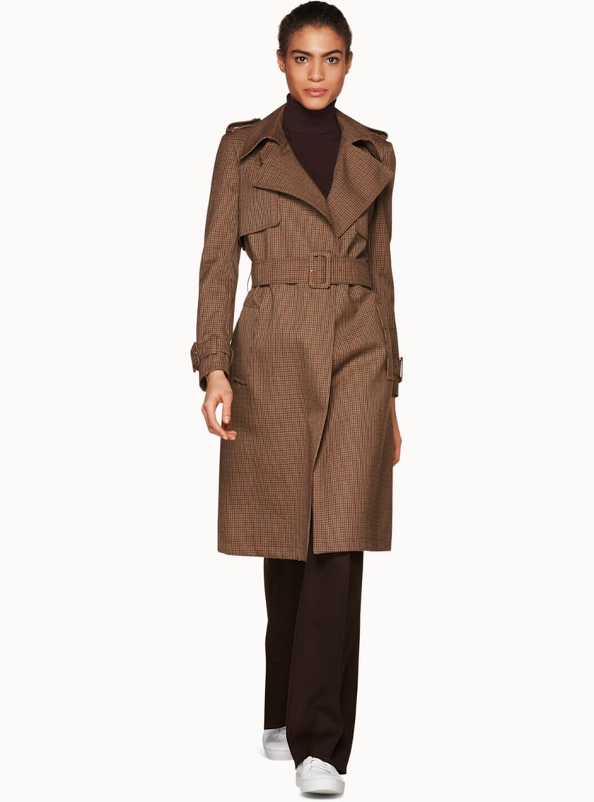 Dwight Brown Checked Trench Coat