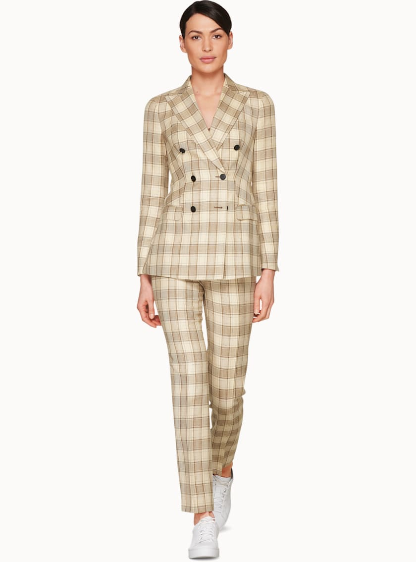 Cameron Beige Checked Suit