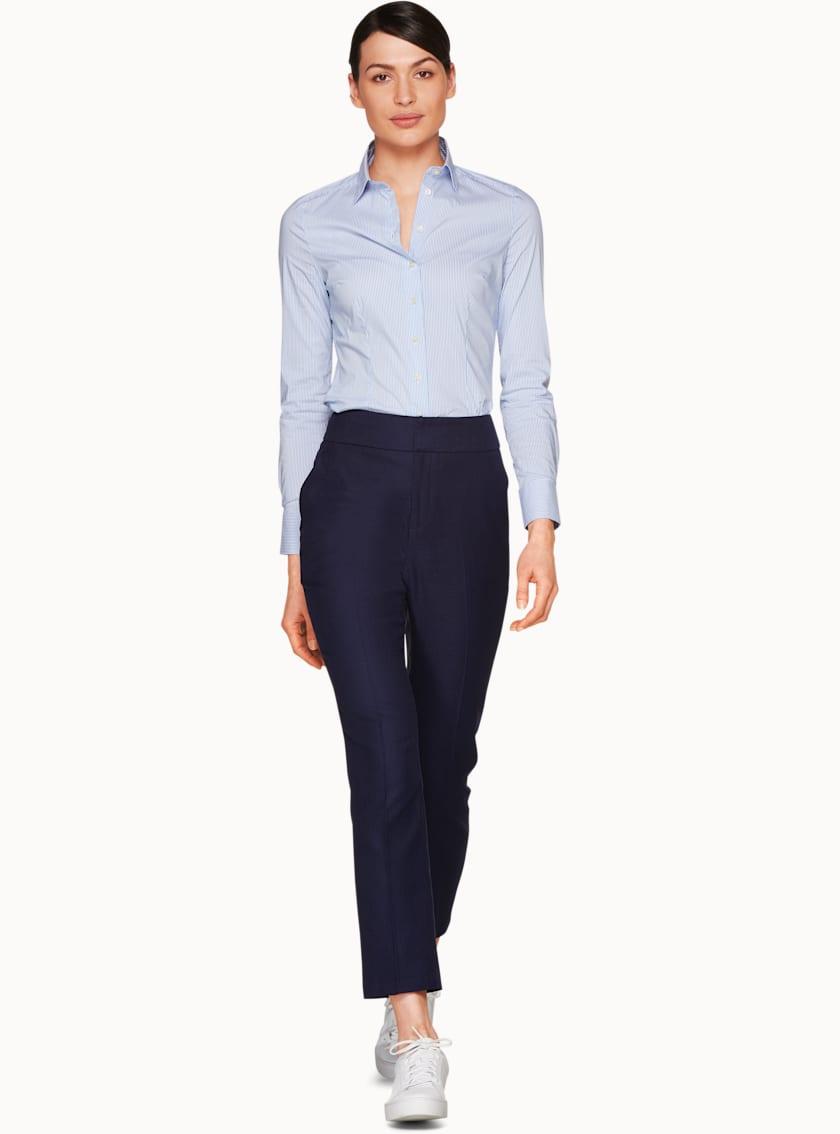 Kate Light Blue & White  Basic Shirt