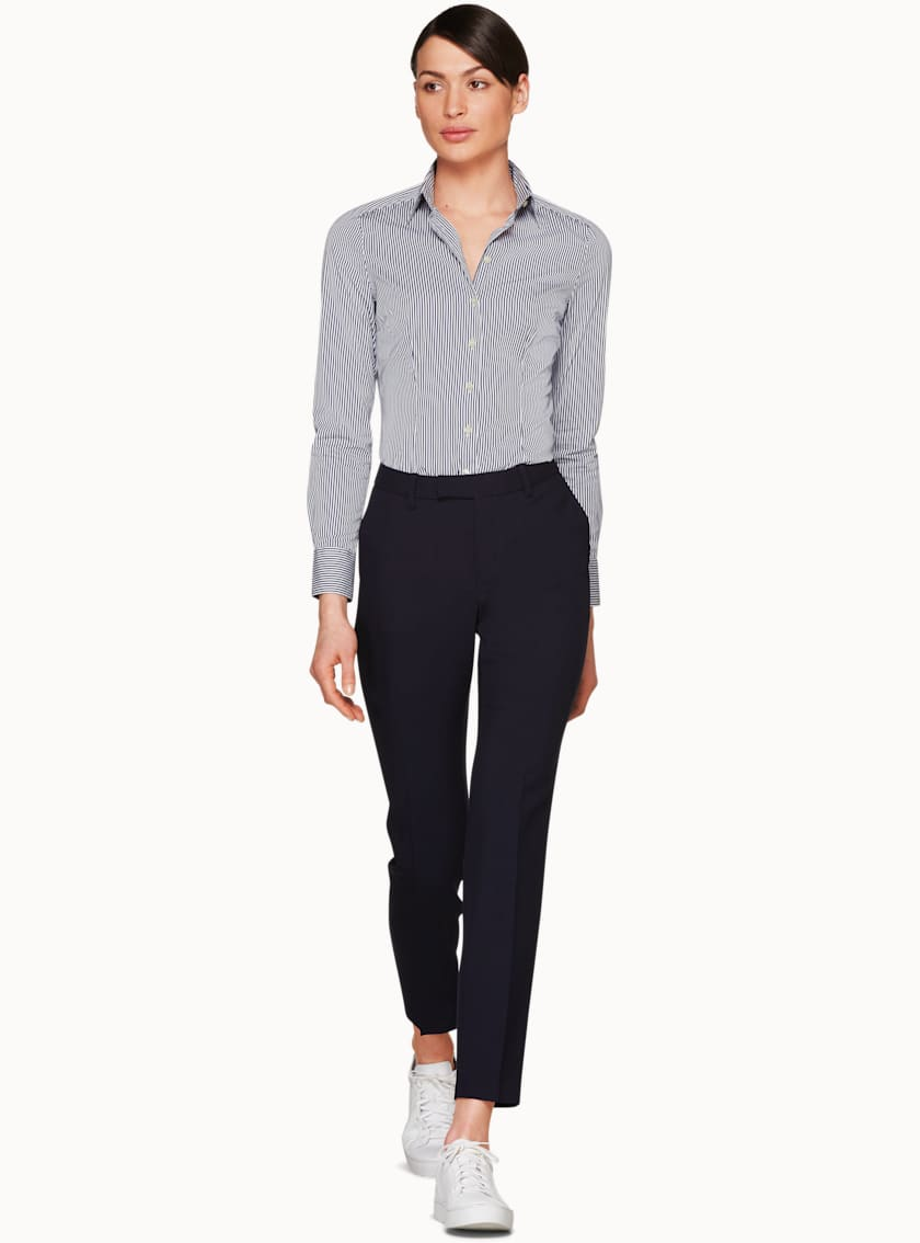Kate Navy & White Stripe Basic Shirt