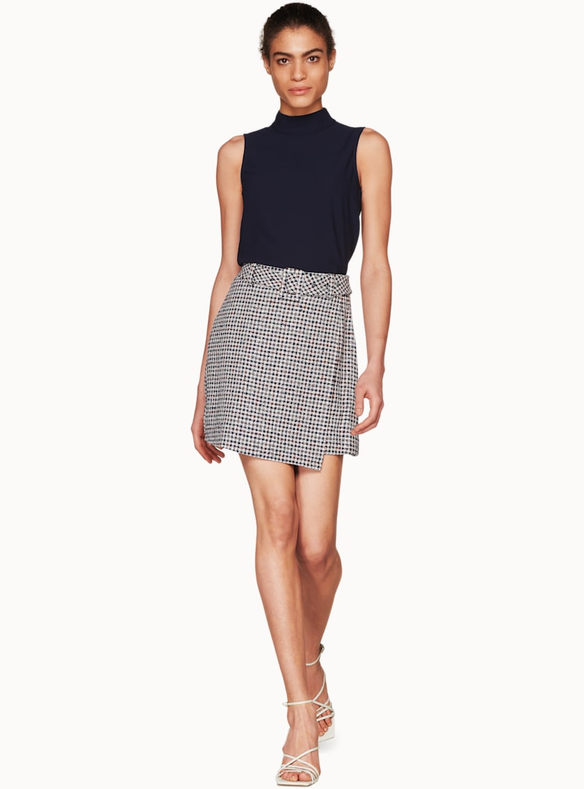 Calvin Navy & Chocolate Checked Skirt