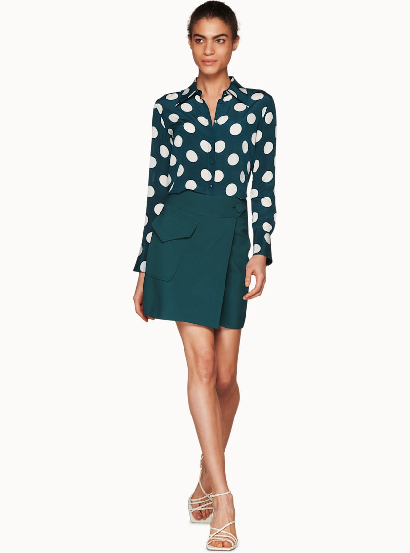 Alec Teal Dotted Silk Blouse