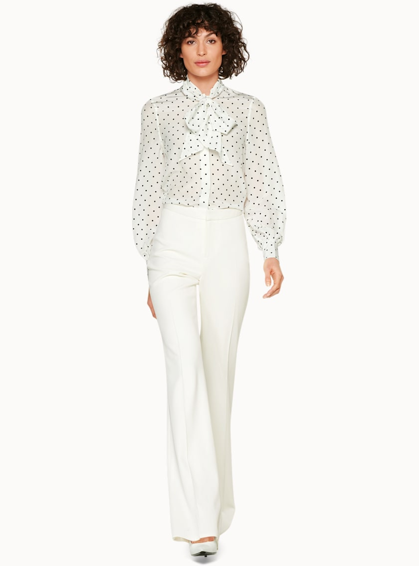 Eesa White & Black Dotted Silk Blouse