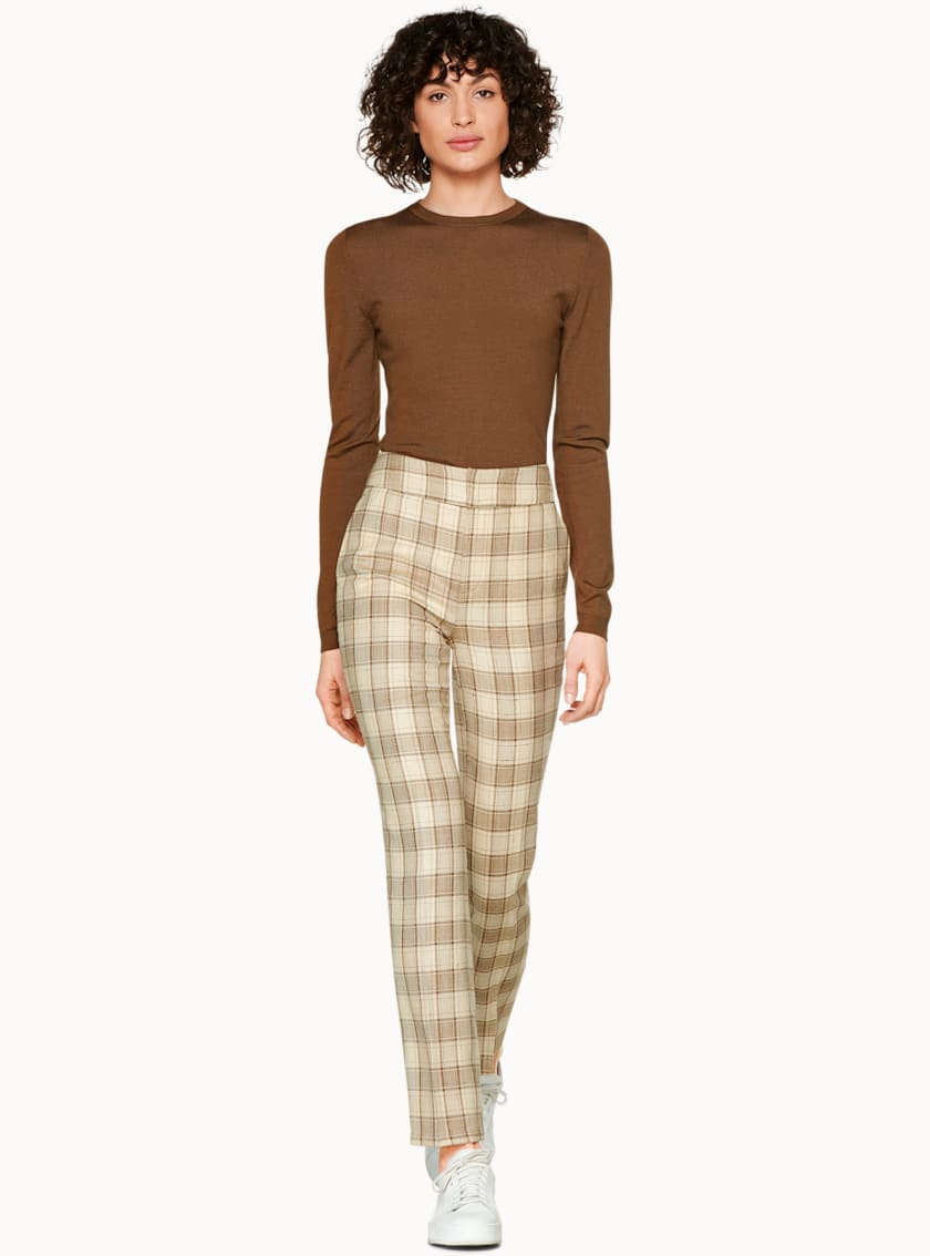 Lane Beige Check Trousers