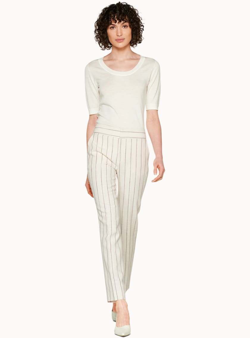Lane Off White & Sand Striped Trousers