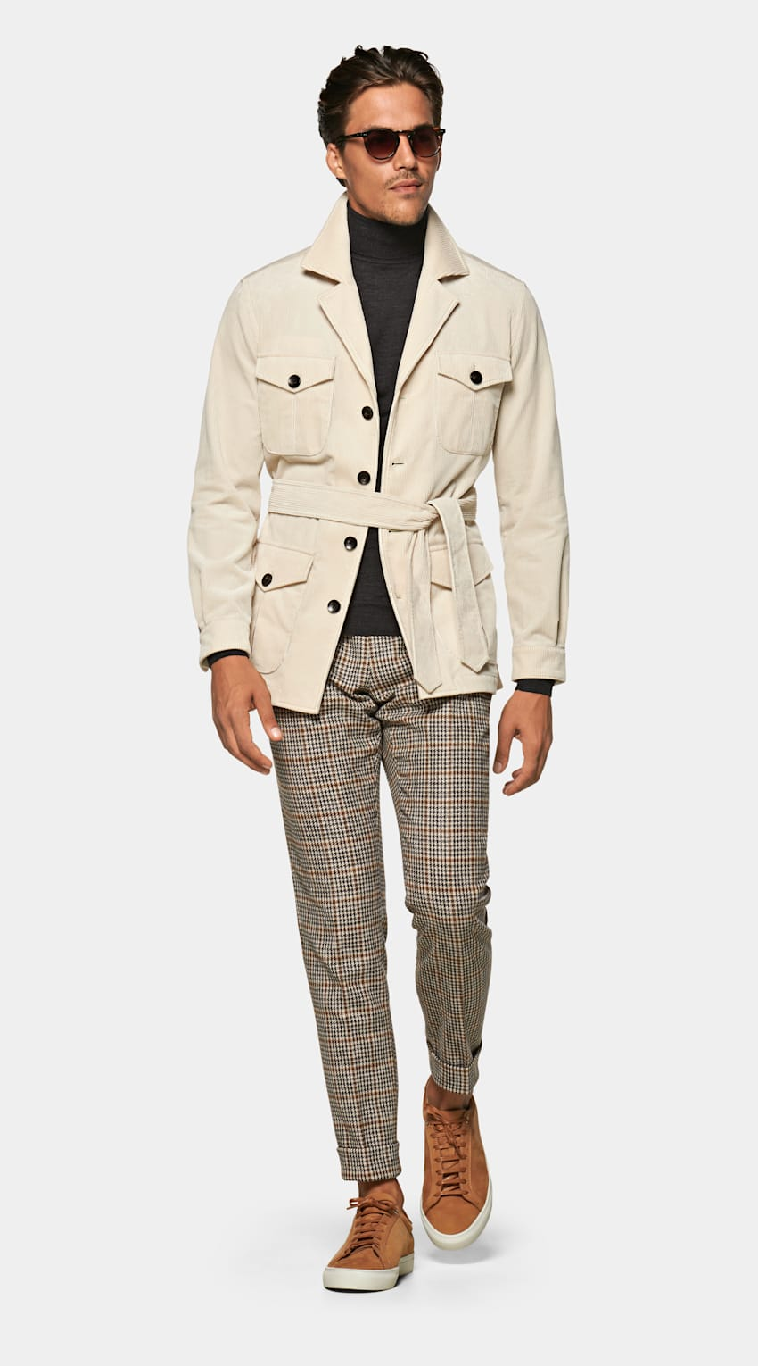 FUWEIHU Ecological System For Clothes Men/'s Tan Safari Style Jacket Blazer With Suede Accents US Size 44 Large Chinese size 190