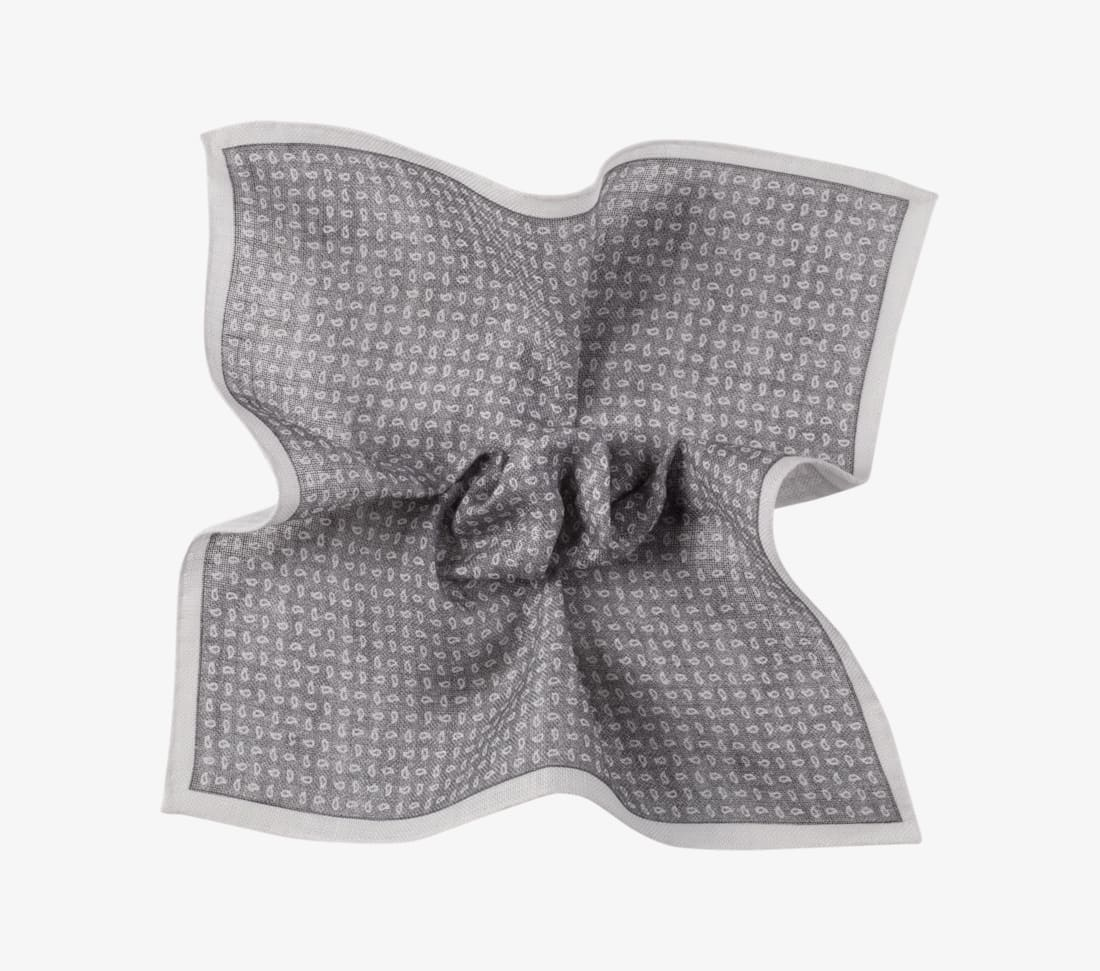 Grey Paisley Pocket Square