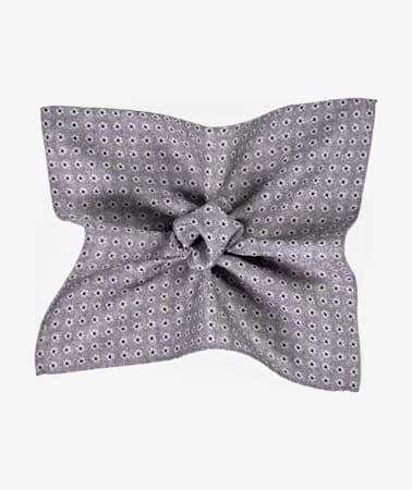 Grey Flower Pocket Square