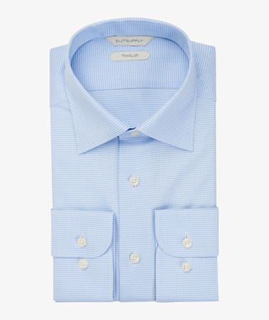 Blue Pied De Poule Traveller Shirt