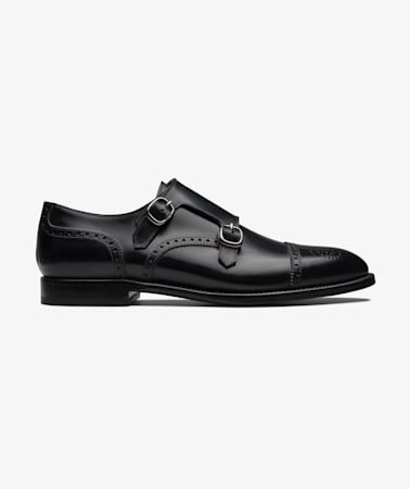 Black Brogue Double Monk
