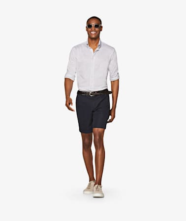 Navy Bennington Pleat Shorts