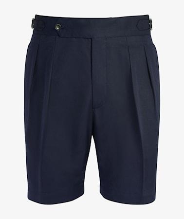 Navy Pleated Bari Shorts