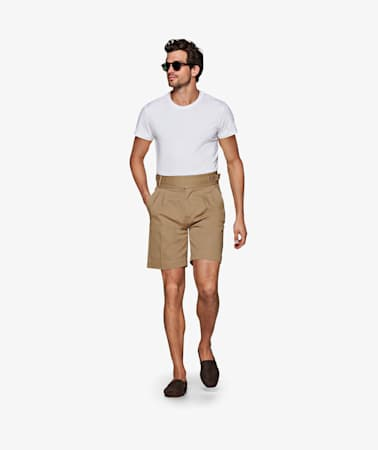 Beige Pleated Bolzano Shorts