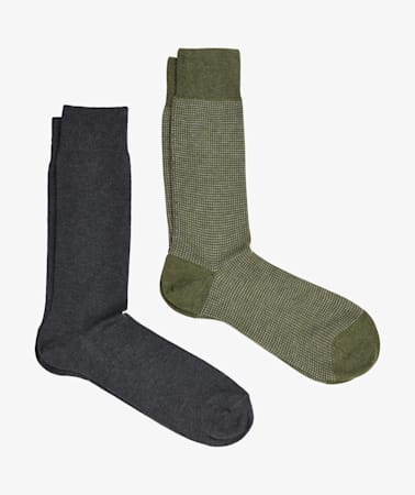 Grey & Green Regular Socks 2 Pack