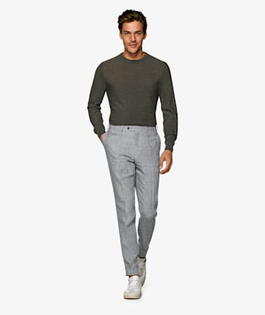 Light Grey Soho Turn Up Trousers