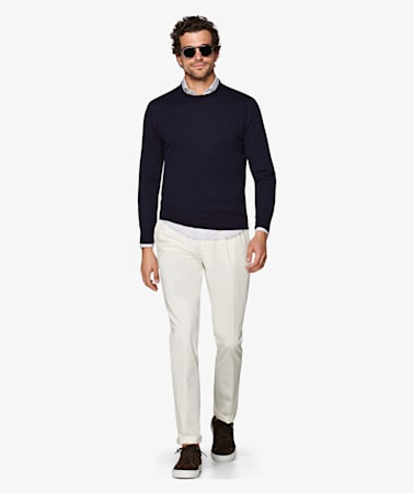 Off White Porto Pleat Washed Chino