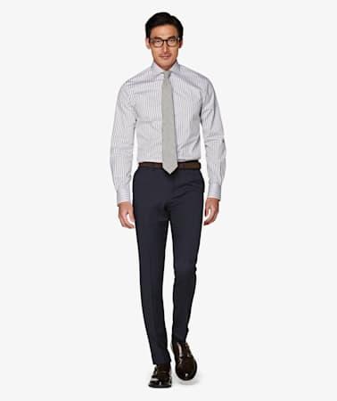 Navy Soho Turn Up Trousers
