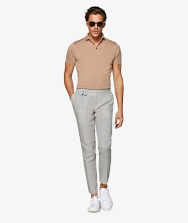 Mid Grey Pleated Brentwood Trousers