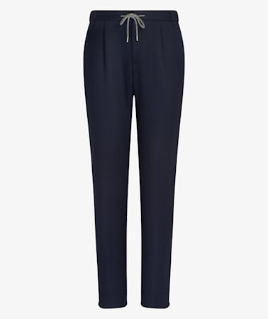 Navy Ames Pleat Trousers